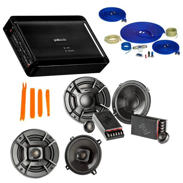 """Polk Audio Bundle - A Pair Of DB6502 6.5"""" Components, A Pair Of DB522 5.25"""" Speakers , PA D4000.4 Amplifier & Wire Kit"""