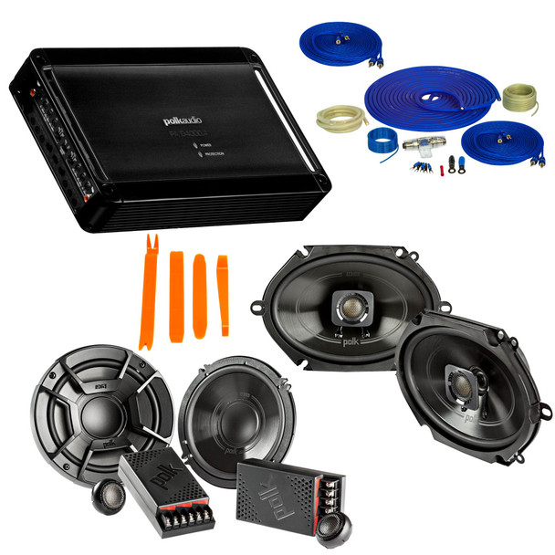 """Polk Audio Bundle - A Pair Of DB6502 6.5"""" Components, A Pair Of DB572 5x7"""" Speakers , PA D4000.4 Amplifier & Wire Kit"""