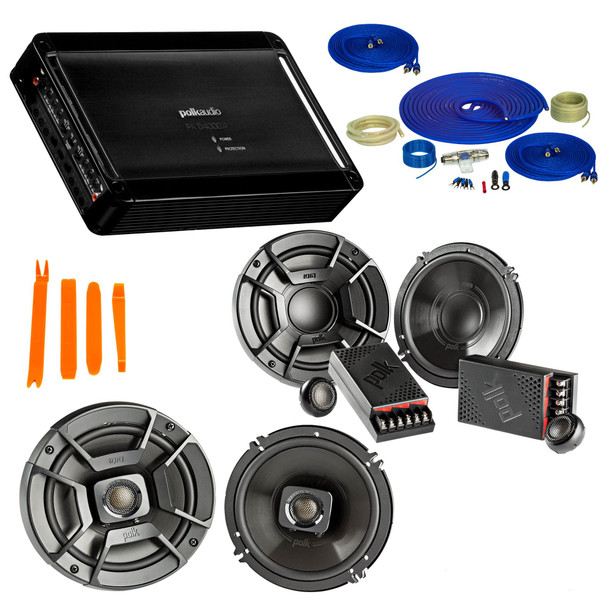 """Polk Audio Bundle - A Pair Of DB6502 6.5"""" Components, A Pair Of DB652 6.5"""" Speakers , PA D4000.4 Amplifier & Wire Kit"""
