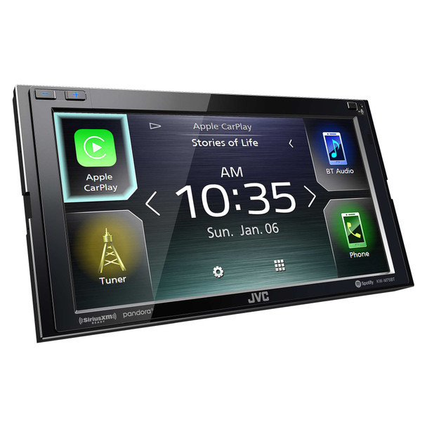 JVC Refurbished KW-M75BT Compatible with CarPlay, Android Auto 2-DIN AV Receiver (No CD Drive)