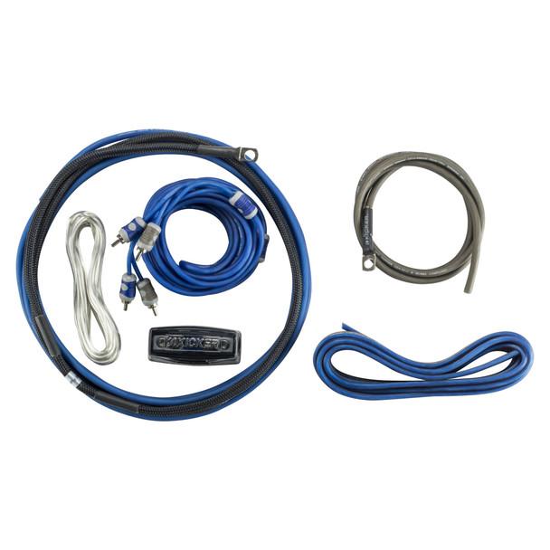 Kicker 47TRTP102 Thin Down Firing Subwoofer Enclosure with 46CXA400.1 Amplifier and CK8 Wiring Kit