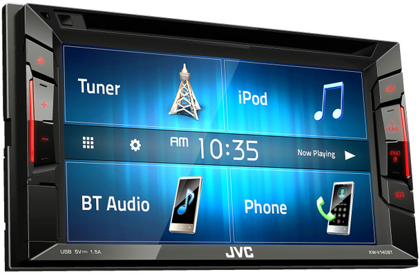 JVC KW-V140BT Bluetooth DVD/CD/USB Receiver with 6 2 Inch Clear Resistive  WVGA Touch Panel