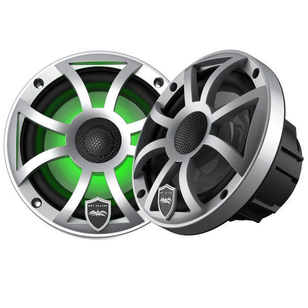 Wet Sounds REVO 6-XSS Silver Open XS Grille 6.5 Inch Marine LED Coaxial Speakers (pair)