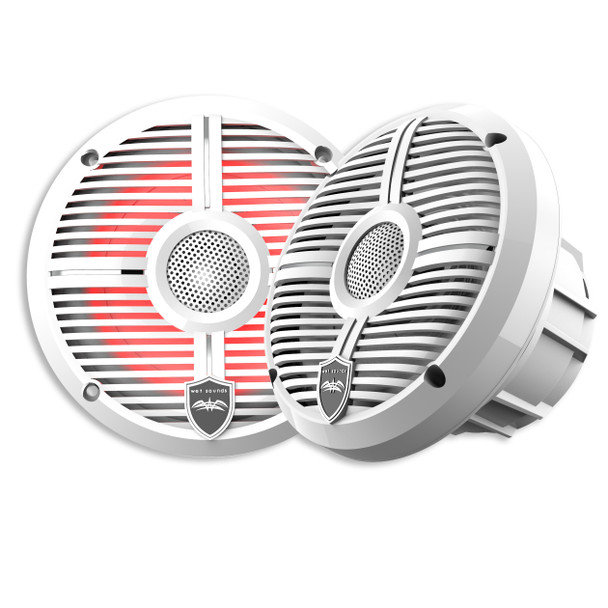 Wet Sounds REVO 6-XWW White Closed XW Grille 6.5 Inch Marine LED Coaxial Speakers (pair)