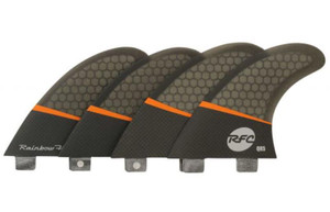 Rainbow QR5 Pro Core Surfboard Quad Fin Set - FCS Base - Smoke
