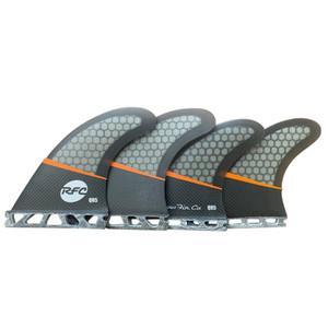 Rainbow QR5 Pro Core Surfboard Quad Fin Set - Future - Blk/Orange