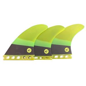 "Creatures ""Arc Series"" Small Thruster Surfboard Fins Set-  Future - GREEN/BLK"
