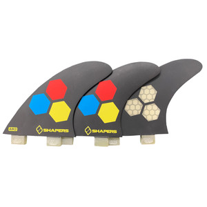 """Shapers """"AM3"""" Small Thruster Set Surfboard Fins -FCS- BLK/YELLOW"""