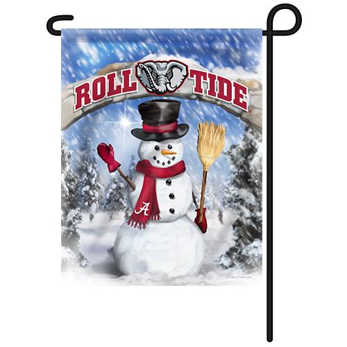 Alabama Snowman with Broom Garden Flag
