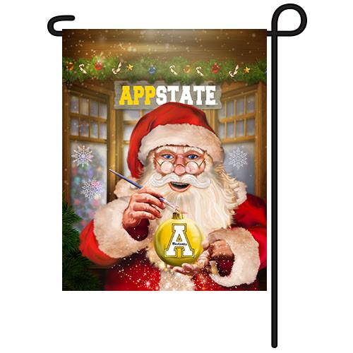 Appalachian State Santa with Ornament Garden Flag