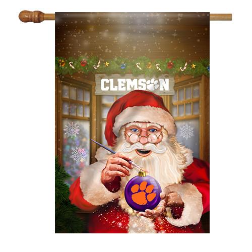 Clemson Santa with Ornament House Flag