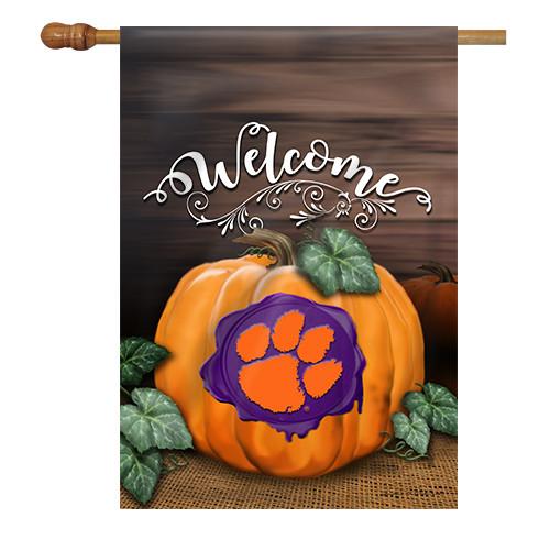 Clemson Pumpkin House Flag