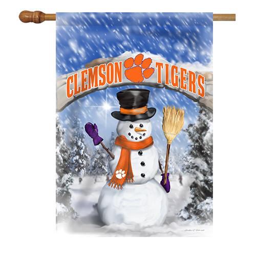 Clemson Snowman with Broom House Flag