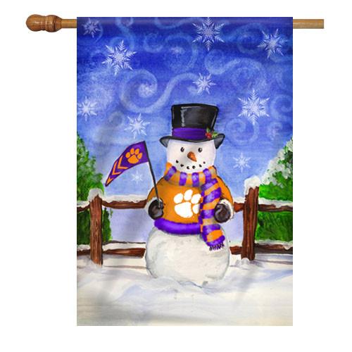 Clemson Snowman House Flag