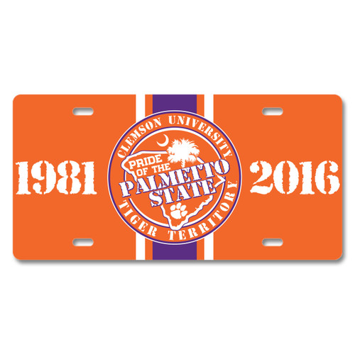Clemson Metal License Plate - Palmetto Pride