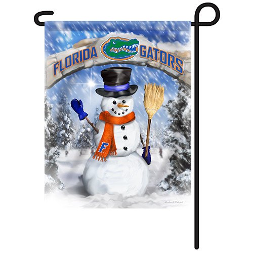 Florida Snowman with Broom Garden Flag