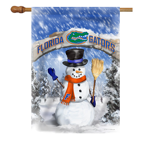 Florida Snowman with Broom House Flag