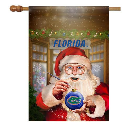 Florida Santa with Ornament House Flag