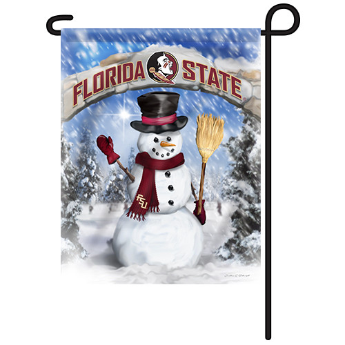 Florida State Snowman with Broom Garden Flag