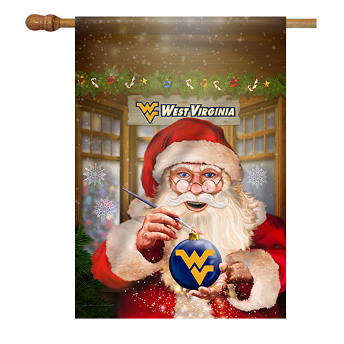 West Virginia Santa with Ornament House Flag