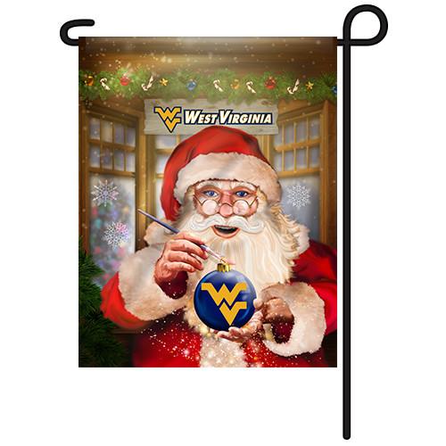 West Virginia Santa with Ornament Garden Flag