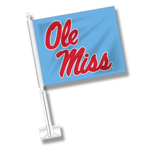 Ole Miss Car Flag - Columbia Blue