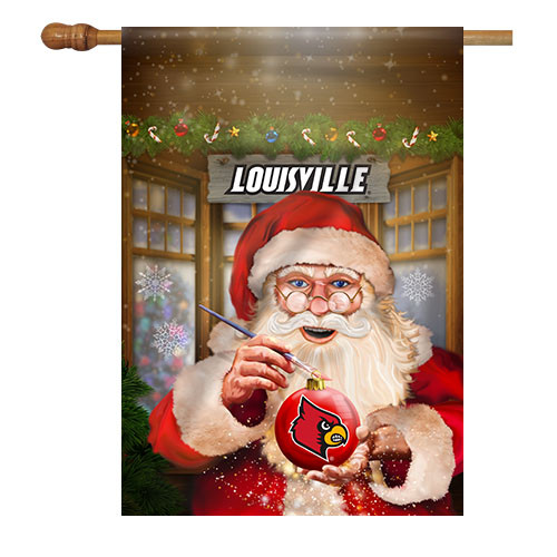 Louisville Santa with Ornament House Flag