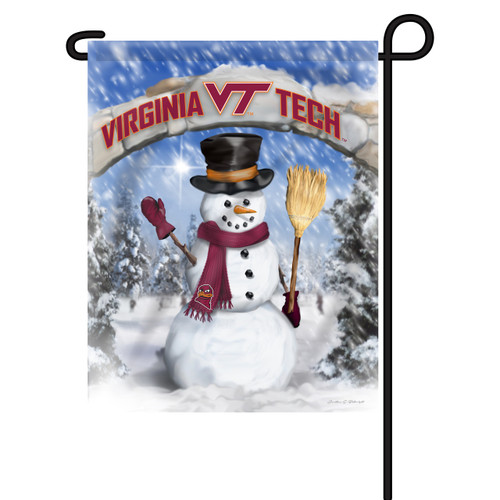 Virginia Tech Snowman with Broom Garden Flag