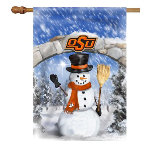 Oklahoma State Snowman with Broom House Flag