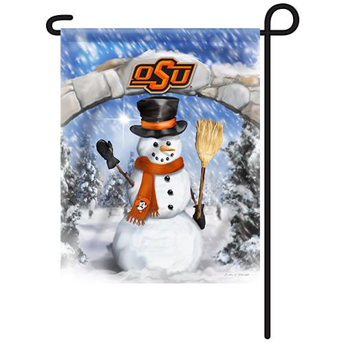 Oklahoma State Snowman with Broom Garden Flag