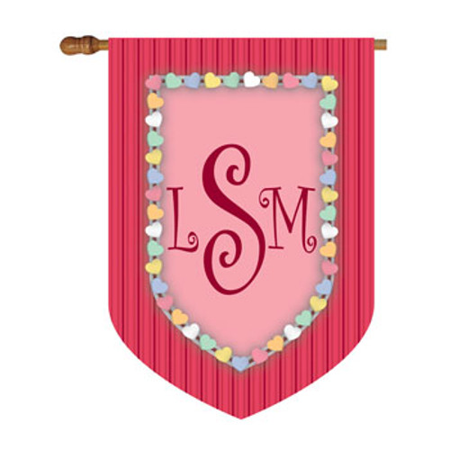 Candy Hearts Monogram House Flag
