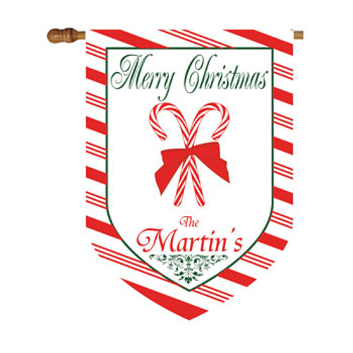 Christmas Candy Cane Personalized House Flag