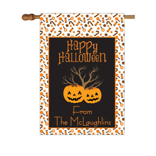 Halloween Pumpkins Personalized House Flag