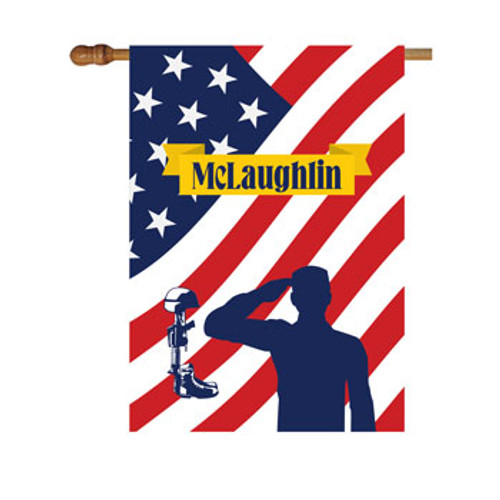 American Flag with Solider Personalized House Flag
