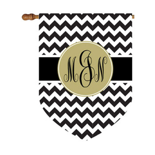 Chevron Circle Monogram House Flag