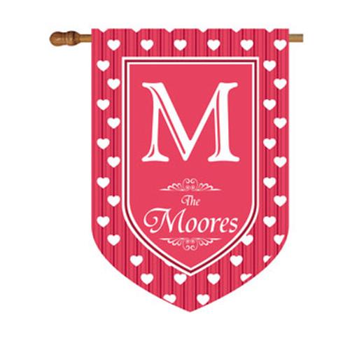 Polkadot Hearts Personalized House Flag