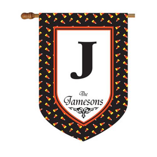 Candy Corn Polkadot Personalized House Flag