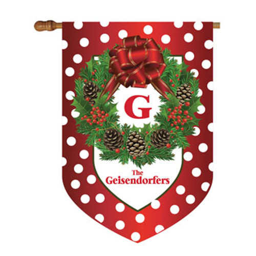 Christmas Wreath Personalized House Flag