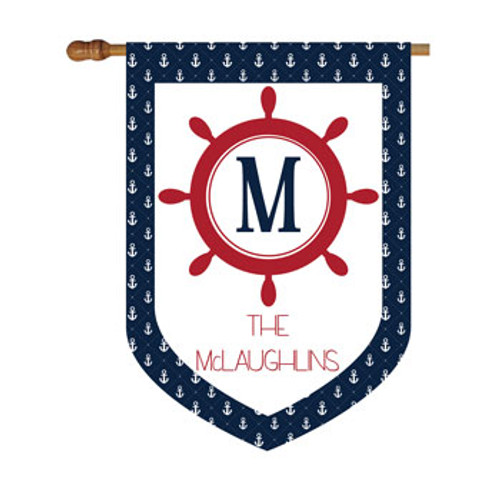 Nautical Anchor Personalized House Flag