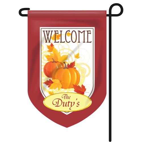 Welcome Pumpkin Personalized Garden Flag