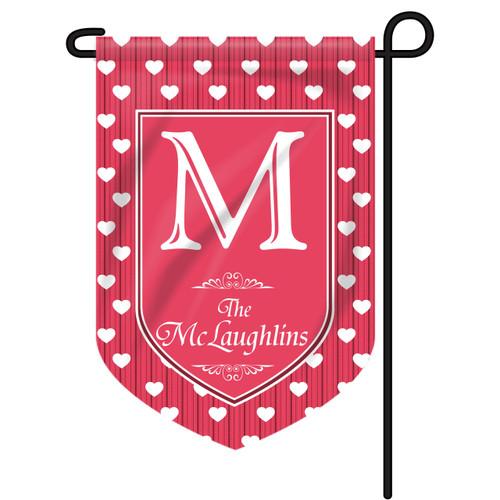 Polkadot Hearts Personalized Garden Flag