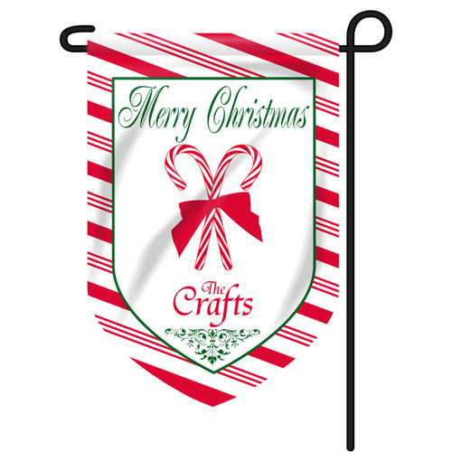 Christmas Candy Cane Personalized Garden Flag