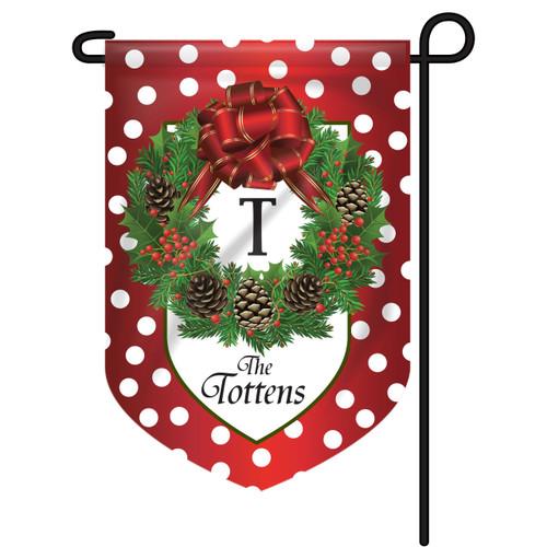 Christmas Wreath Personalized Garden Flag