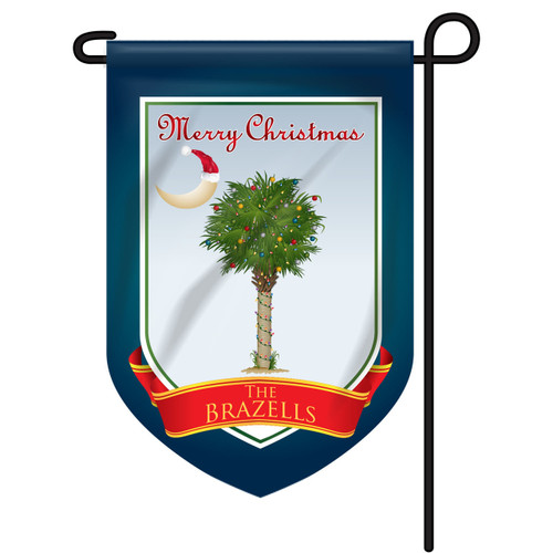 Christmas Palm Tree Personalized Garden Flag