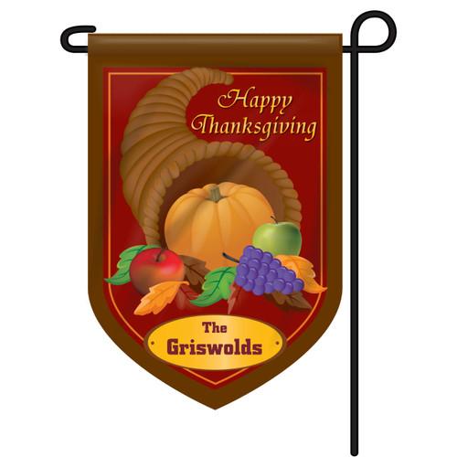 Cornucopia Thanksgiving Personalized Garden Flag
