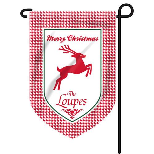 Reindeer Houndstooth Personalized Garden Flag