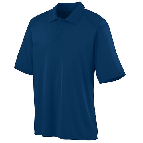 100% polyester wicking textured knit * Wicks Moisture * Heat sealed label * Self-fabric collar * Box-stitched placket * Three matching buttons with cross-stitching * Topstitched armholes and forward shoulder seams * Set-in sleeves