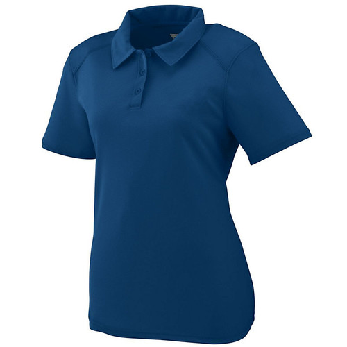 100% polyester wicking textured knit * Wicks Moisture * Ladies' fit * Heat sealed label * Self-fabric collar * Box-stitched placket * Three matching buttons with cross-stitching * Topstitched armholes and forward shoulder seams * Set-in sleeves