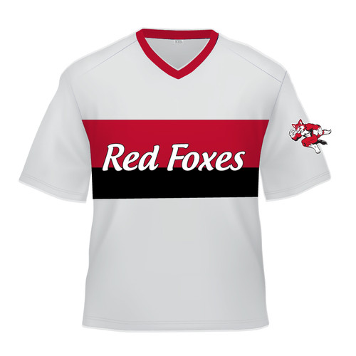 Short Sleeve Sublimated Jersey - Red Foxes White