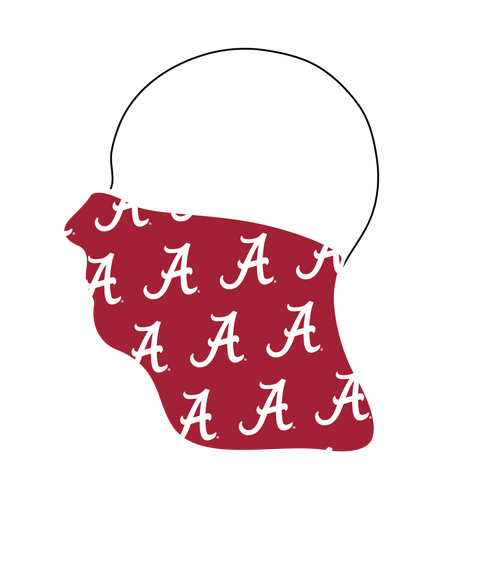 Alabama Crimson Tide Neck Gaiter- Crimson Tiled A - Reusable - Washable